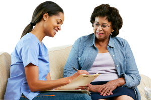 Caregiver taking information from new client