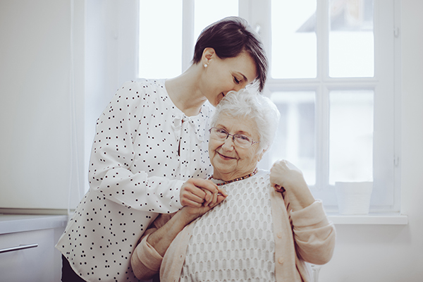 Adult caregiver with senior mother, in-home Orange County, CA caregivers