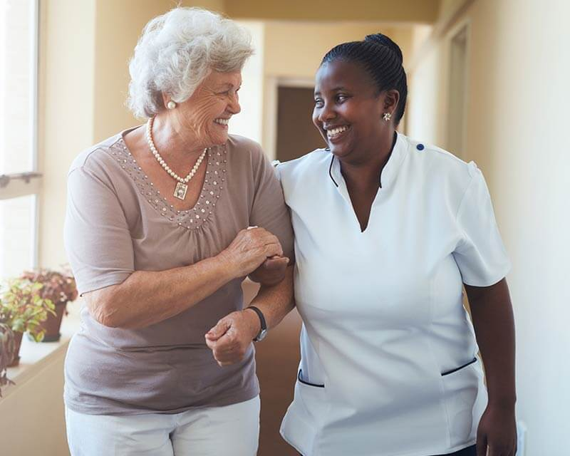 Caregiver walking with a client