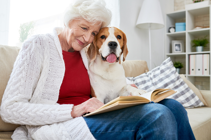 senior woman reading with dog