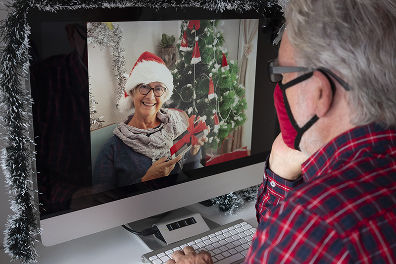 Senior man on video call for Christmas